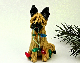 Briard Tawny PORCELAIN Christmas Ornament Figurine Lights