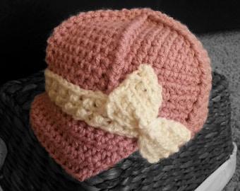 Handmade Baby girl crochet newsboy hat, baby beanie, baby gift, photo prop, pink baby cap, infant hat, 0-12 months