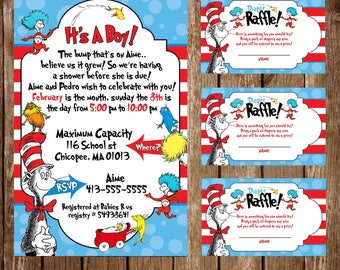 Cat in the hat 85 invites and  100 raffle tickets