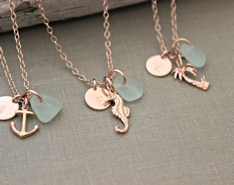 Rose Gold genuine sea glass necklace - personalized initial and choice of charm - Anchor, Seahorse or Palm tree - 14k pink gold filled