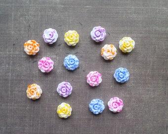 20 white resin flowers spot Mix colour