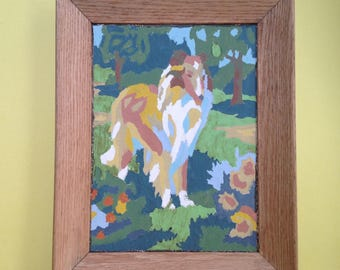 Vintage Collie Paint By Number Dog Painting Framed