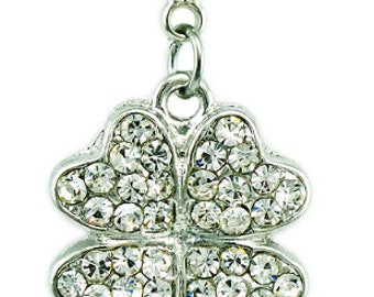 Rhinestone Four Leaf Clover Shamrock Charm - Clip-On - Ready to Wear