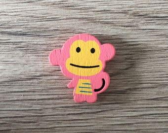 Wooden monkey shape bead - pink