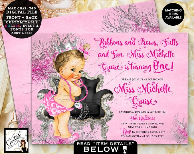 Pink and Silver First Birthday Invitation, princess baby 1st pink silver black vintage invites, 7x5 Double Sided. DIGITAL Gvites