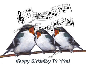Hand Drawn Clip Art: Freehand Drawing, Three Birds Singing Happy Birthday, jpg, gif files, Print or E Card, Commercial Use, INSTANT DOWNLOAD
