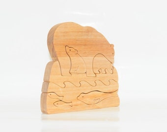 Wooden Puzzle Polar Bear With Cubs On An Iceberg Seal Hunting And Fishings Toy. Wooden handmade toys, wooden animals, Natural eco friendly