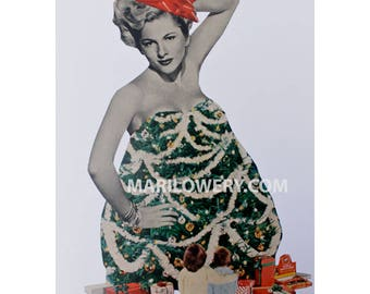 One of a Kind Paper Collage Christmas Tree Art, 9 x 12 Inch Surreal Art, Retro Pin Up, Unique Wall Decor, Holiday Decor, frighten