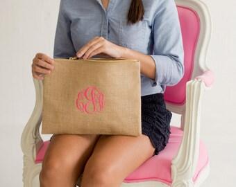 Large Cosmetic Bag- FREE Personalization, Monogrammed Cosmetic Bag-, Bridesmaid Gift, Make-up bag BURLAP