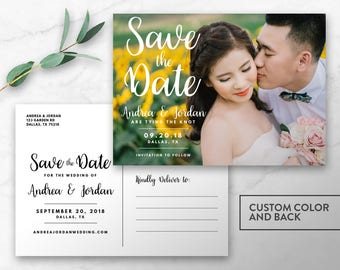 Printable Simple Photo Save the Date - Custom Color - Postcard Photo Card - Engagement Photo - 5x7 Save the Date - Digital Printable