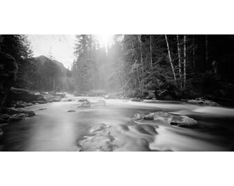 River Long Exposure, Washington Landscape, Pinhole Black and White Photograph Matted  in a Wood Frame