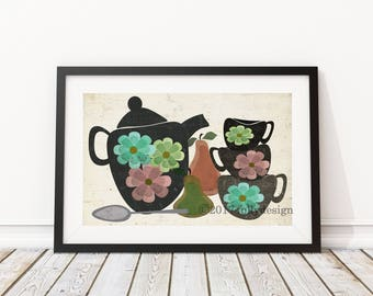 Retro Tea Party kitchen art print.  Tea Party and pears poster. Mid-century modern kitchen home decor. Tea cups and tea pot art print. Pears
