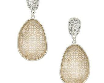 Irregular oval laser cut filigree earrings