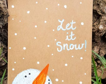 Hand painted Let it Snow snowman greeting cards, set of 5 blank greeting cards with envelopes. Winter greeting cards. Christmas cards