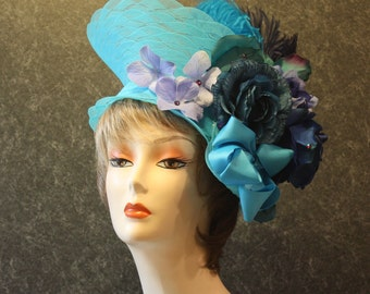 Turquoise Kentucky Derby Hat, Derby Hat, Easter Hat, Garden Party Hat, Tea Party Hat, Church Hat, Downton Abbey Hat, hat Turquoise Hat 103
