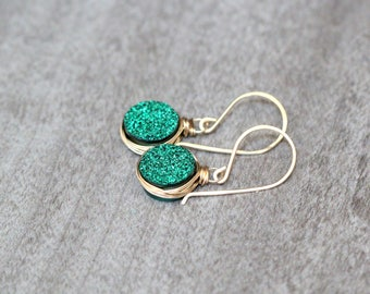 Druzy Dangle Earrings , Gold Rose Gold or Sterling Silver & Emerald Green Druzy Drop Earrings , Christmas Gift Ideas  -  Emerald City
