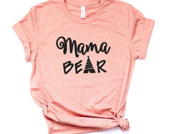 SALE Mama Bear Shirt for Mom Life Expecting Mom Gift for Mom Birthday | Heather Sunset Pink, Peach, Mint, Gray | Sizes XS-2XL