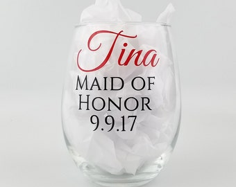 Personalized Bridal Party Glasses - stemless white wine glasses - Bridesmaid gifts with name and role - set of seven