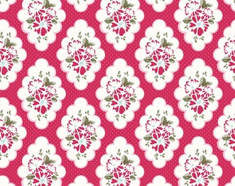 Wiltshire Daisy Fabric, Riley Blake C4332 Red, Carina Gardner, Red Floral Fabric, Girls Quilt Fabric, Floral Medallion Fabric, Cotton