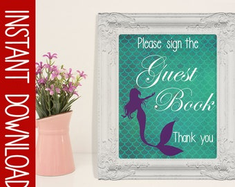 Mermaid Baby shower Sign- Sign The Guest Book- Shower Decor- 8X10 Printable- Instant Download