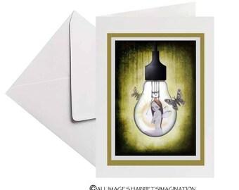 Greeting Card | Fairy Greeting Card | Lightbulb Fairy | Card & Envelope | Blank Card | Art Greeting Card | Keepsake