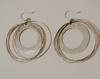 "Sterling Silver Stamped 2"" Hoop Made In Mexico Earrings."