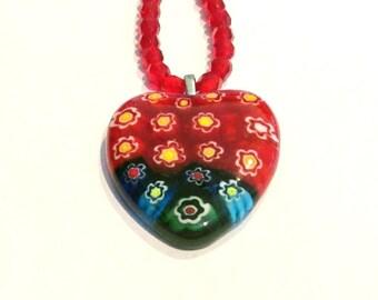 Millefiori Necklace, Red Heart Millefiori Pendant and Glass Bead Necklace