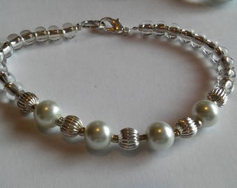 Pearls and Silver Beaded Bracelet
