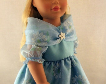 Blue Daisy Formal Dress with Cowl Collar, Hairclip and Shoes for American Girl Doll