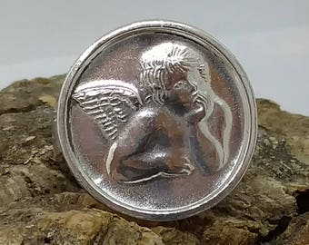 Guardian Angel RING, Religious Medal, Vintage Sterling Silver, Sz 4.25, Raphael's Pensive Cherub from the Sistine Chapel, VGC