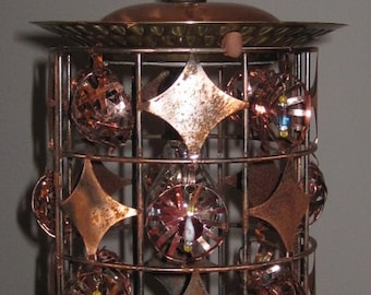 COPPERINA Assemblage OOAK Hand-Made Brass Sparkle Bling Swag Light Fixture Chandelier Reclaimed Metals Upcycled