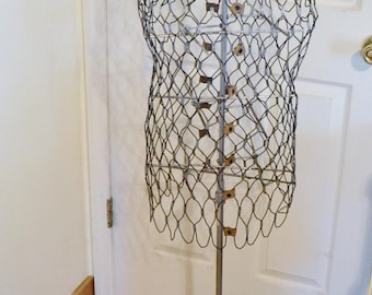 Vintage Wire Dress Form My Double Dressmaking Couture Sewing Room Display Fashion PanchosPorch