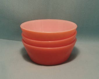 FEDERAL CEREAL BOWLS Orange Glass Serving Heat Proof Dish set of 3 Mid Century Vintage Retro 1950s