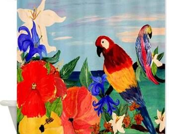 Parrots Garden Art Shower Curtain