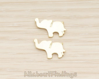 PDT1401-MG // Matte Gold Plated Baby Elephant Silhouette Double Loops Pendant, 2 Pc