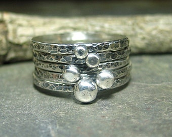 Rustic stacking rings pebble rings ball rings hammered sterling silver stackable ring set - Pebble Road Stack of Five