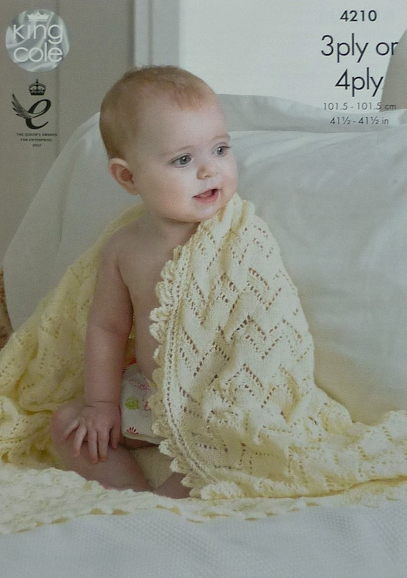 Baby Blanket Knitting Pattern K4210 Babies Easy Lace Shawl/Blanket ...