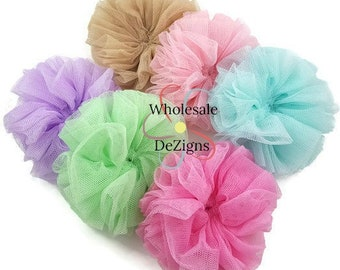 "Tulle Flowers - Twirl Ballerina Flowers - 3.5"" Soft Mesh Rosette - Shabby Mesh - Super Fluffy & Full - Your Choice - 3.5 inch"