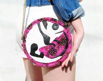 Panda + Chameleon = PANDALEON Bag - Designer  Shoulder Bag, Clutch, All Seasons - Round Clutch - Handmade - better gift