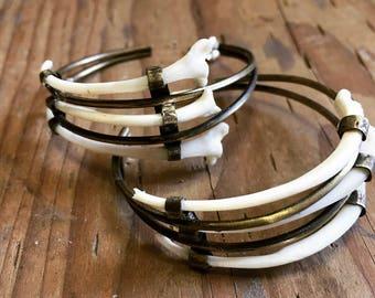 Snake Rib Bone Trio Hoop Earrings
