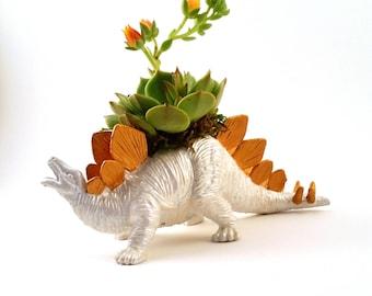 Stegosaurus Dinosaur Planter + Succulent \\ Pearl & Gold \\ Desk Accessory \\ Dorm \\ Home Decor \\  Gift \\ Office Decor \\ Desk Plant