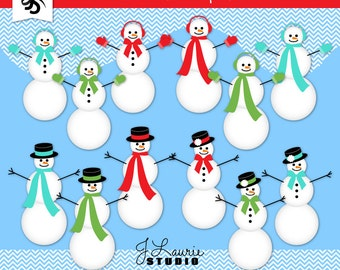 Digital Clipart-Holiday Snowmen-Christmas-Snowman Clip Art-Scarf-Girl Snowman-Mittens-Holiday Cards-Scrapbooking-Instant Download