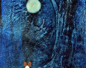 Pembroke Welsh Corgi Dog Folk Art PRINT Todd Young painting Blue Night