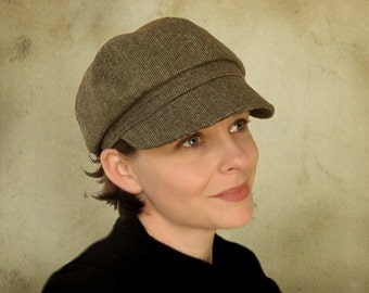 Brooklyn Tweed - wool tweed newsboy cap jaunty autumn earth tone fabric hat custom size