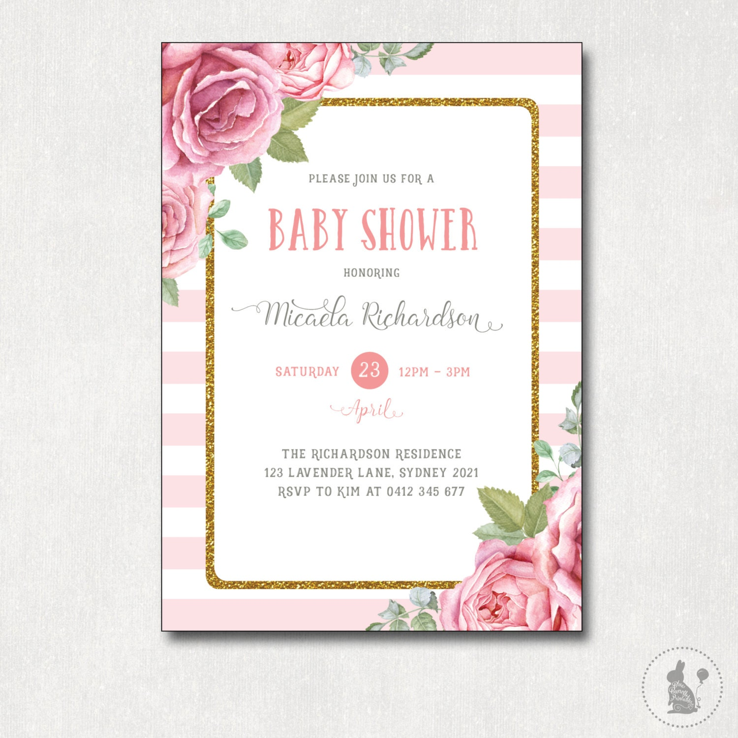 girl pink glitter wonderbash stripes download products blish invitations invite decor instant file pacifier invitation shower printable digital blush and gold baby