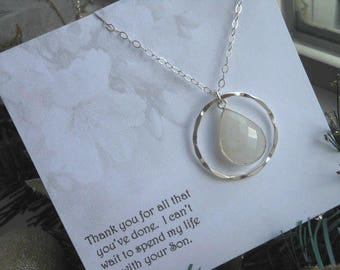 Mother of the Groom Gift, Moonstone Necklace, Silver Eternity Necklace, Mother in Law Gift, Wedding Jewelry, Sterling Silver Necklace