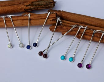 Long silver stick with stone earrings ultra violet Mothers Day Turquoise Garnet Citrine Emerald Moonstone Amethyst Mother of Pearl Opal Onyx