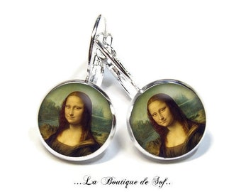 925 Sterling Silver: Stud Earrings with glass cabochons * mona lisa * (100218) 3 sizes