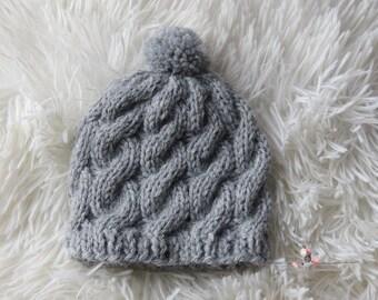 Cable Knit Newborn Beanie/Newborn Hat/Pom Pom Hat/Newborn Prop