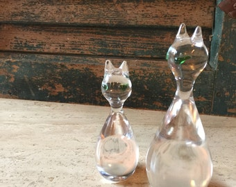 Pretty Mod Clear Glass Kitty Pair RESERVED FOR CINDY